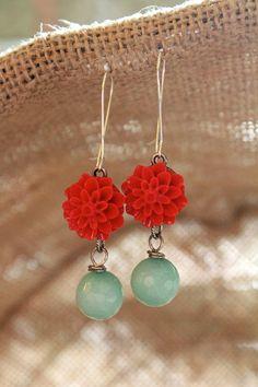 Red Flower Earrings Resin Cabochon Flower by belmonili on Etsy, $15.00