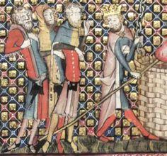 Romance of Alexander, 14th century, mi-parti cotehardie and hood