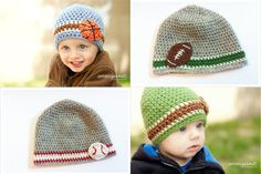 Crochet Beanie Hat Sports Pack Beanies by LittleMommaBoutique, $40.00