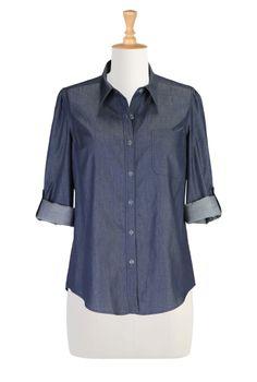 Denim Chambray Shirt, Large Women Clothes Women's designer clothing - Shop Women's Long Sleeve Tops - Tunic Tops, Ladies Tops, Fashion Tops, Plus Size Tops - | eShakti.com