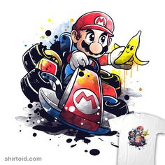Go kart watercolor by NemiMakeit - Get Free Worldwide Shipping! This neat design is available on comfy T-shirt (including oversized shirts up to ladies fit and kids shirts), sweatshirts, hoodies, phone cases, and more. Free worldwide shipping available. Super Mario Kunst, Super Mario Art, Mario Und Luigi, Mario Bros, Mario Kart, Disney Drawings, Cartoon Drawings, Art Drawings, Cartoon Kunst