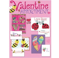 "Valentine Assortment Price : $12.00 Three cards each of four Valentines messages, 12 folded cards, (4.5"" x 6.25"") 13 assorted envelopes"