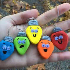Christmas Lights Tree Ornaments, SET of 5, Funny Christmas Tree Ornaments, Hand Made, Polymer Clay