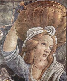 polmos: Trials of Moses (detail) - Sandro Botticelli (model: Simonetta Vespucci), Sistine Chapel, Rome Sandro, Giorgio Vasari, Italian Painters, Italian Artist, Italian Renaissance, Renaissance Art, Sistine Chapel, Renaissance Paintings, Tempera