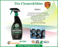 Tyre-Clean-Shine-ID-504-tire sealant tire repaire tire sealer tire inflator tire cleaner supplier-iLike Fine Chemical   Specially formulated to clean and shine all tyres. Contains exclusive blend of silicone polymers and UV inhibitors lock in a long last shine and helps protect against sun damage. It also works great on lack bumpers, wather stripping and hard vinyl trim. It gives your tires a high-gloss, long-lasting shine that keeps them looking like new longer