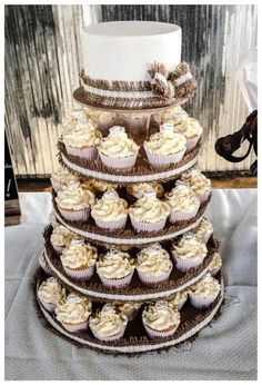 Burlap and Lace cake and cupcake tower - Cake by Nicki Sharp