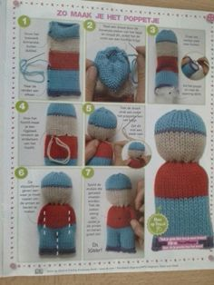 Andy Boy Doll was created as an outlet to use up sock yarn remnants. Finished doll measures about 8 inches. Exact dimensions will depend on the type of yarn used. Ravelry: Andy Boy Doll pattern by Ania A. I love knitting comfort dolls. Knitted Doll Patterns, Knitted Dolls, Knitting Patterns, Loom Knitting, Free Knitting, Easy Knitting Projects, Knitting Ideas, Sewing Projects, Woven Wrap