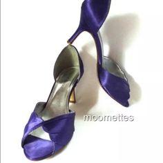 ✂️Sz 7.5 Regency Purple Shellie Satin Heels Shoes Davids Bridal Shoes Regency Purple Shellie Satin Open Toe Heels Pumps Womens 7.5M Worn Once Gently Pre-Owned  Trades David's Bridal Shoes Heels