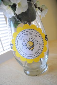 3 Baby Shower Centerpiece Decorations - Bumble Bee Theme - Mommy To Bee. $9.00, via Etsy.