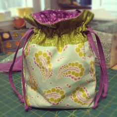 """After a very long week, I was able to get just a bit of fun sewing in yesterday. These cute little drawstring bags from Jeni at """" In C..."""
