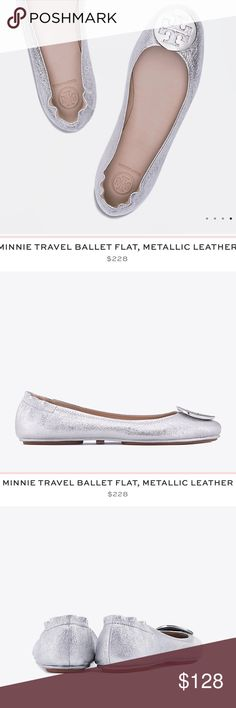 Tory Burch silver flats Perfect Conditions only used for blog pictures Tory Burch Shoes Flats & Loafers