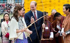 Will and Kate tried their hands at archery at the Changlimithang Archery Ground in Bhutan.