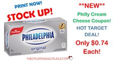 STOCK UP TIME with a new $0.75/1 Philly Cream Cheese coupon! Get a HOT Target deal and pay only $0.74 each! HOT DEAL!  Click the link below to get all of the details ► http://www.thecouponingcouple.com/philadelphia-cream-cheese/ #Coupons #Couponing #CouponCommunity  Visit us at http://www.thecouponingcouple.com for more great posts!