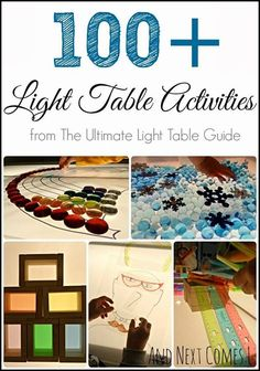 100 Light Table Activities and information on The Ultimate Light Table Guide from And Next Comes L Table Activities For Toddlers, Sensory Activities, Sensory Play, Sensory Table, Sensory Diet, Reggio Emilia, Overhead Projector, Reggio Classroom, Autism Classroom