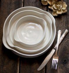 Baking Dishes Nesting White Porcelain Ceramic Casserole Dishes. SuiteOneStudio via Etsy