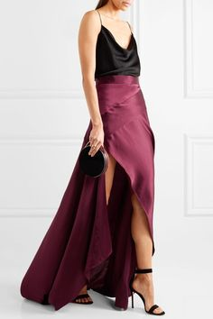Michael Lo Sordo - Empress Asymmetric Silk-satin Maxi Skirt - Merlot - UK10