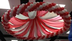 """""""Under the big top"""" circus tent feel created with HUGE ring of balloons and Plastic sheeting. This take a lot of time to rig to the ceiling!"""