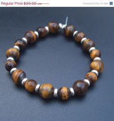 Last Minute Gifts 15% Off Lady Luck - Tigers Eye and Silver-Plated Rondelle Bracelet - Reiki Charged, Brown, Gold #handmadejewelry #gemstonejewelry
