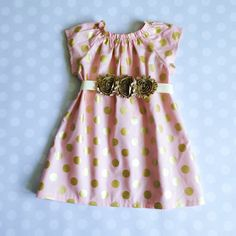 Peach Blush and Gold Polka Dot Dress  Baby Girl by crocodilecrunch
