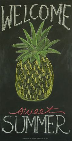 New Summer Pineapple Chalkboard Art (and Free Printable!)   Less Than Perfect Life of Bliss   home, diy, travel, parties, family, faith,