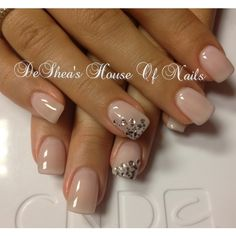 Nice and clean... Simple nude nails with a little glitter✨. Must try this | See more about shellac nails, wedding nails and nail colors.