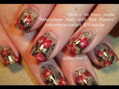 DIY Nail Tutorial - Red Flower Design on Vintage Newspaper Nails - http://www.nailtech6.com/diy-nail-tutorial-red-flower-design-on-vintage-newspaper-nails/