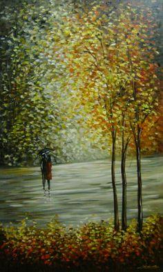 PINTURA EM TELA , paisagem impressionista , artista plástica Brasileira Katia Almeida, quadro para decoração, 60x100 COD 788. Aceito encomendas.