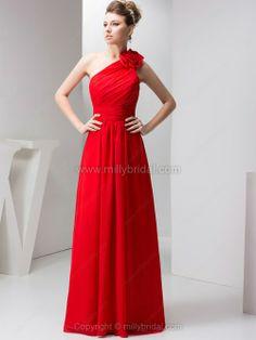 A-line One Shoulder Chiffon Floor-length Flower(s) Evening Dresses