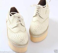 Fashion Women's Lace Up PU Punk Goth Platform Flat Creeper Lace Shoes 181 | eBay