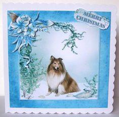 Card Gallery - Christmas Rough Collie Dog Winter Scene Mini Kit