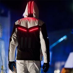 Ski suits with solar-powered lights by Willy Bogner. This would be rad at a rave party.