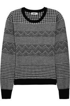 Lil houndstooth and herringbone wool sweater by Acne; color: black. original $235 now $117.50