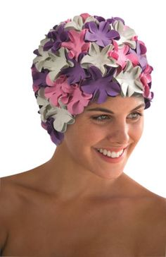 Fashy-Pink-Lilac-White-Petal-Swimming-Hat-Floral-Vintage-Style-Bathing-Cap