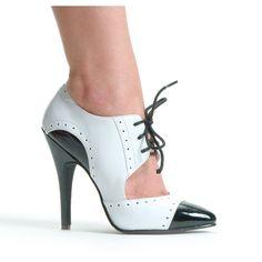 """5"""" Stiletto Heel Black And White Closed Toe Oxford Pump"""