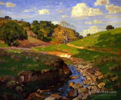 Spring Creek by William Wendt Handmade oil painting reproduction on canvas for sale,We can offer Framed art,Wall Art,Gallery Wrap and Stretched Canvas,Choose from multiple sizes and frames at discount price. Spring Landscape, Landscape Art, Landscape Paintings, Landscapes, Oil Painting Texture, Oil Painting Abstract, Oil Painting Reproductions, Landscape Pictures, Framed Art