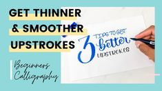 3 Tips to Get Better Calligraphy Upstrokes - Modern Calligraphy for Begi... Hand Lettering For Beginners, Calligraphy For Beginners, Hand Lettering Tutorial, Hand Lettering Alphabet, Hand Lettering Quotes, Diy Letters, Learning Letters, Modern Calligraphy, Get Well