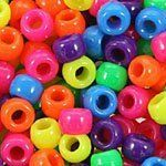 Multicolor Mix Plastic Pony Beads Bulk 6x9mm, 500 beads bulk bag