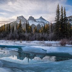 sunrise with the Three Sisters in Canmore, Alberta, Canada  See this Instagram photo by @kgogrady_yyc • 1 like