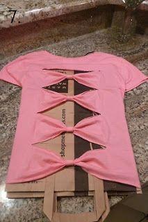 Bow back shirt- a how to:: DIY Bow Back T-shirt or tank top! :: Super cute and inexpensive! :: DIY Projects:: Bow Back Shirt:: Cut out shirts AHHHH super cute! Bow Back Shirt, How To Make Bows, How To Wear, Bow Shirts, Zumba Shirts, Shirt Tutorial, Diy Vetement, Do It Yourself Fashion, Refashioning