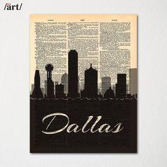 Dallas City Skyline Dictionary Art Print / Cityscape Poster / Travel Art Decor