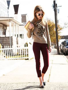Burgundy pants with neutrals and leopard - totally my style Casual Work Outfits, Business Casual Outfits, Work Attire, Cute Outfits, Work Fashion, Fashion Outfits, Womens Fashion, Fall Winter Outfits, Autumn Winter Fashion