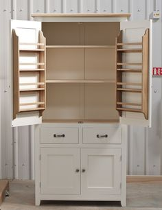 Larder cupboard handpainted in Farrow and Ball Estate Eggshell - White Tie. Solid tulip wood carcass construction with birch ply panels and ... Devon