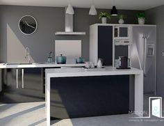 Extension de maison   Maison & Vous Cout Extension Maison, Cuisines Design, Modern Decor, Corner Desk, Kitchen Decor, Furniture, Home Decor, Minimalist, Modern
