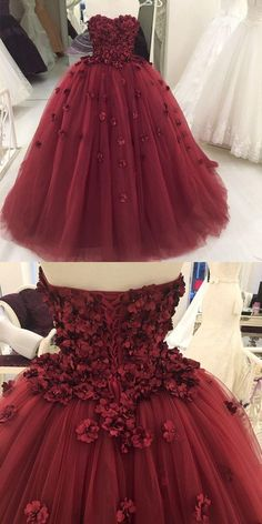 Strapless quinceanera dress, burgundy quinceanera dress, flower tulle ball gowns by Miss Zhu Bridal, $249.00 USD
