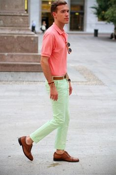 Pink Polo styled with Mint Chinos and a pair of Brown Leather Brogues