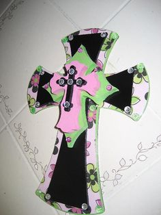 Wooden Wall Cross Stacked with Lime Green Pink