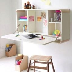 Looks like a toy box being used as a desk?