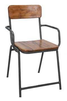 Sillas bar con brazos, apilables, en madera veteada, modelo Capri.