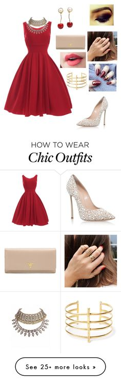 """Untitled #146"" by nonahussein on Polyvore featuring Casadei, Prada, Valentino and BauXo"