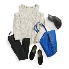 Stay comfortable & stylish in leggings, slip-on sneakers, & an on-trend cold-shoulder top.